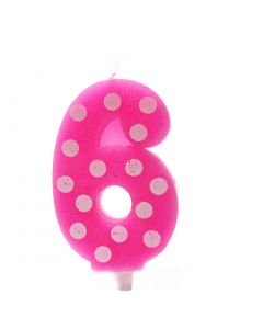6 No Pink Polka dot candle
