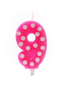 9 No Pink Polka dot candle