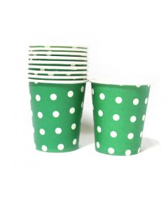 Green Polka Dots Paper Cups