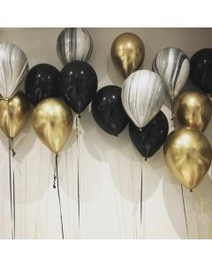 Black and Gold Marble Balloons