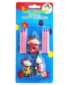 Happy Birthday Spiral Party Clown Candles