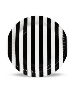 Black Stripes Paper Plates