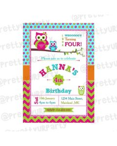 Girly Owl Invitations