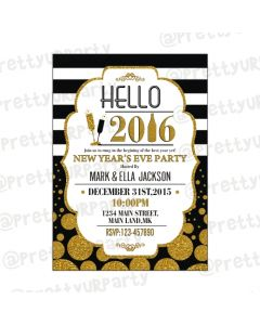 gold and black new year invitations