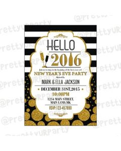 Gold and Black New Year Theme E-Invitations