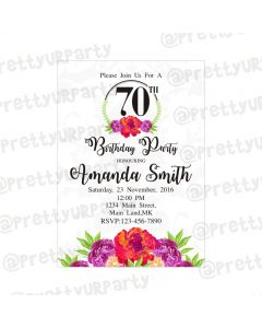 70th Birthday Theme Invitations