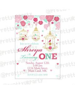 Mint and Pink Floral 1st Birthday Theme Invitations
