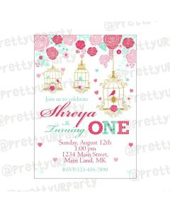 Mint and Pink Floral 1st Birthday Theme E-Invitations