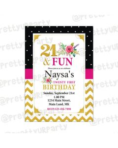 21st Birthday Theme Invitations