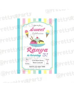 Ice Cream Theme Invitations