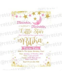 Twinkle Twinkle Little Star Pink E-Invitations