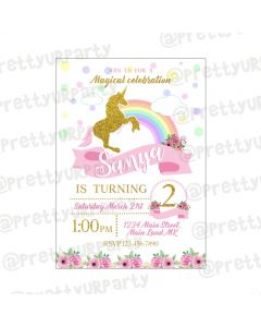 Unicorn Theme Invitations