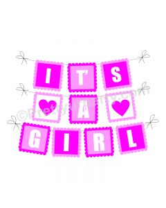 Pink and Orange It's A Girl Baby Shower Bunting