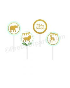 Jungle Baby Shower Cupcake / Food Toppers