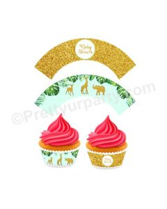 Jungle Baby Shower Cupcake Wrappers
