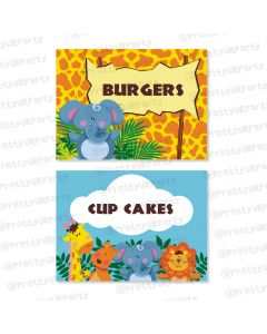 jungle theme food labels / buffet table cards