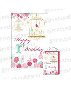 Mint and Pink Floral 1st Birthday Theme Khoi Bag