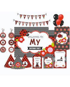 Lady Bug Party Decorations - 90 Pieces