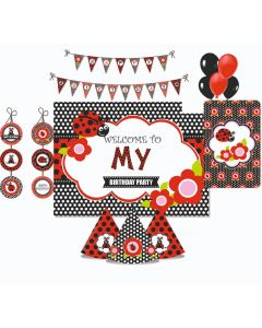 Lady Bug Party Decorations Package - 70 pieces