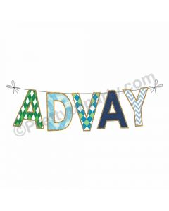 Name Pattern Bunting - Blue