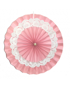 Pink Rosette Paper Fans with Doily - Big