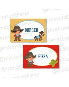 little wrangler food label/ buffet table cards