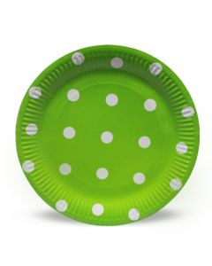 Lime Green Polka Dots Paper Plates
