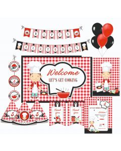 Little Chef Red Party Decorations - 90 Pieces
