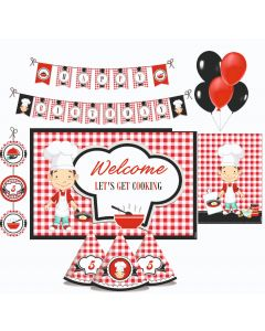 Little Chef Red Party Decorations Package - 70 pieces