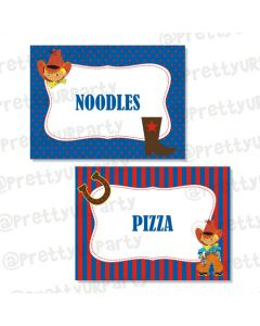 little cowboy food labels/ buffet table cards