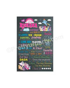 My Little Pony Theme Chalkboard Poster