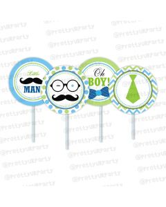 little man theme cupcake / food toppers
