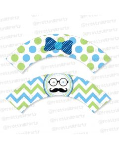 little man theme cupcake wrappers
