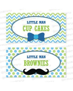 little man theme food / buffet table cards