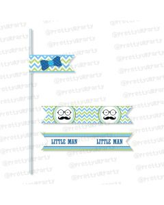 little man theme straws