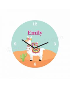 Personalised Llama Theme Clock - Round