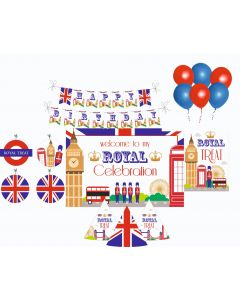 London Party Decorations Package - 70 pieces