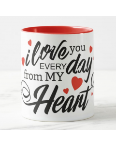 Love You Valentines Mug - Rim and Inside Red