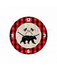 Personalized Lumberjack Clock - Round