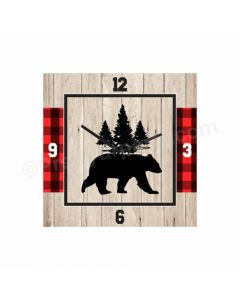 Personalized Lumberjack Clock - Square