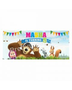 Personalized Masha and The Bear Theme Banner 30in