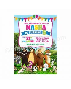 Masha and The Bear Theme Invitations