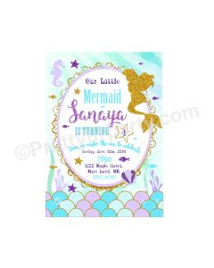 Aqua Mermaid Theme Invitations