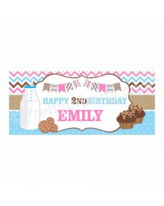 Personalized Milk and Cookies Theme Banner 30in