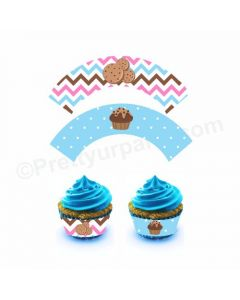 Milk and Cookies Theme Cupcake Wrappers