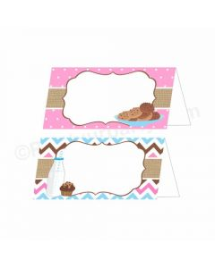 Milk and Cookies Theme Food Labels / Buffet Table Cards
