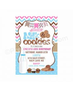 Milk and Cookies Theme Invitations