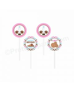 Milk and Cookies Theme Cupcake / Food Toppers