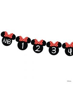 Red and Black Minnie Monthly Photo Banner for Baby Girls