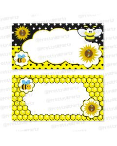 mom to bee food labels / buffet table cards